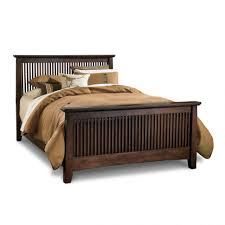 bedroom bedroom interior brown stained wooden low profile bed