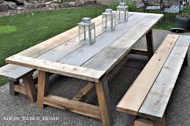 Free Wooden Patio Table Plans by Restoration Hardware Inspired Outdoor Table And Benches