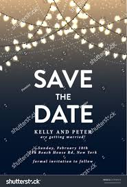 Save The Date Invitation Save Date Invitation Card Holiday Lights Stock Vector 237834979
