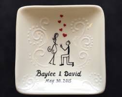 personalized ceramic wedding plates engagement gift ring dishes baptism by purplegiraffeceramic