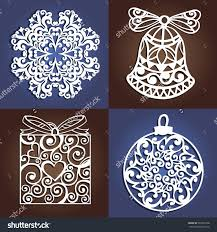 set of openwork christmas decorations laser cutting template