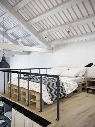 chic scandinavian studio apartment design arranged with loft bed