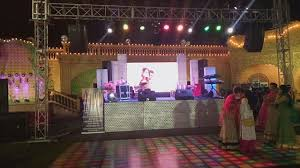wedding backdrop setup complete dj sound light stage setup with led wall background for