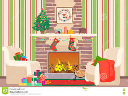 christmas livingroom christmas livingroom flat interior vector illustration christmas