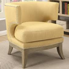 Nailhead Accent Chair Luxenberg Mid Century Modern Barrel Back Design Yellow Accent