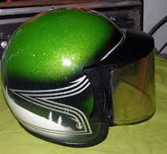 vintage arctic cat snowmobile helmet green silver metal flake face