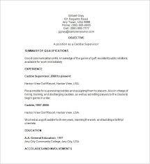 Supervisor Resume Sample Free by Golf Caddy Resume Template U2013 8 Free Samples Examples Format