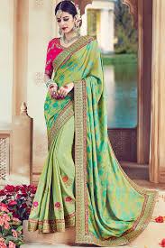 light green color paaneri designer light green color floral print embroidery border