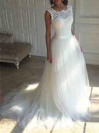 tulle wedding dress ericdress lace a line backless tulle wedding dress 12799057