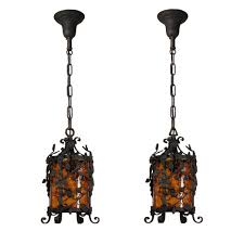 Amber Glass Pendant Lights by Two Matching Antique Iron Pendant Lights With Original Crackled