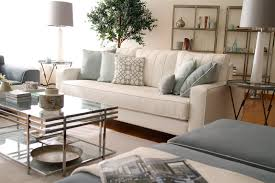 grey living room with blue accents decorating clear