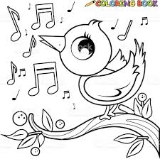 cute bird on branch singing coloring book page stock vector art
