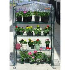 4 tier growing rack planter stand greenhouse with thermal cover