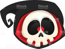 cartoon death head icon halloween vector icon of death skull stock