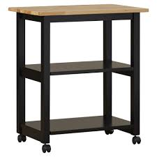 modern butcher block cart two shelves yellow birch color solid