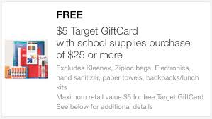5 dollar gift cards get a 5 target gift card with a 25 school supply purchase