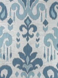 Blue Damask Upholstery Fabric Light Blue Ikat Upholstery Fabric Indigo Blue Large Scale