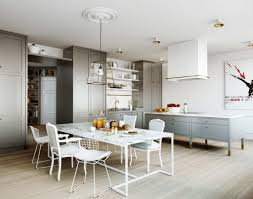 sleek grey cabinet using and cheap white chairs for modern kitchen
