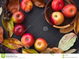 thanksgiving theme autumn theme red apples autumn leaves on dark stock photo