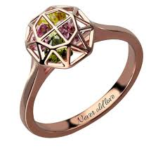 family rings for personalized cage ring with birthstones gold color family ring
