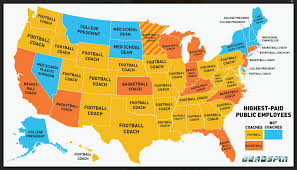 Map Of 50 States by College Coaches Are Highest Paid Public Employees In 40 Of 50