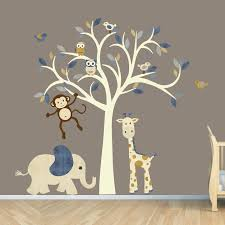 Cream Tree Decal Denim Color Boy Room Wall Decal Jungle Animal - Kids room wall decoration
