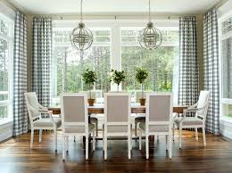 heather gray square back french dining chairs with blue gingham
