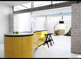 white and yellow kitchen island with stool and black stand lamp