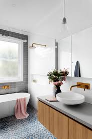 White Bathroom Decorating Ideas Gray Subway Tiling In A Serene Pink U0026 White Bathroom Pink Towels