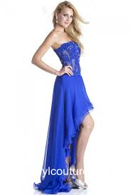 flowing strapless royal blue chiffon lace beaded high low party