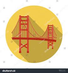 golden gate bridge icon flat style stock vector 529188601