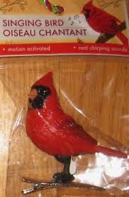 singing bird cardinal new motion activated tree clip on