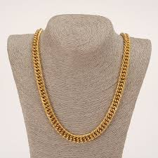 mens link necklace gold images Bangrui heavy mens 22k solid gold gf finish thick miami cuban link jpg