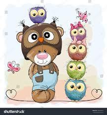 cute cartoon teddy bear five owls stock vector 380564284