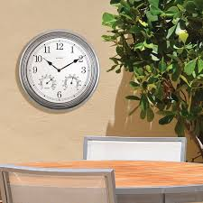 Patio Clock And Thermometer Sets by Amazon Com Acurite 00920 14 Inch Pewter Indoor Outdoor Wall Clock
