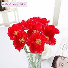 Artificial Flower Bouquets Amazon Com 10 Pcs Latex Corn Poppies Decorative Silk Fake