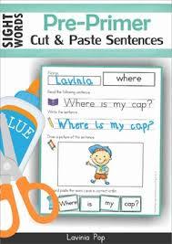 sight words cut and paste sentences pre primer by lavinia pop tpt