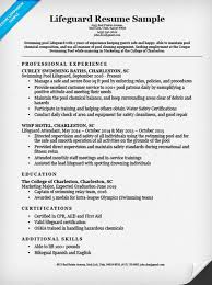 Examples Of A College Resume by Lifeguard Resume Sample U0026 Writing Tips Resume Companion