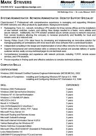 Sample Technical Resume by Sample Technical Resume Certified Systems U0026 Network Administrator