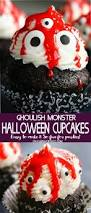 ghoulish monster halloween cupcakes are a super cute dessert for