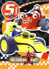 age 5 roary racing car birthday card