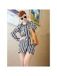 s blouses on sale zanzea vertical stripes asymmetric chiffon blouses