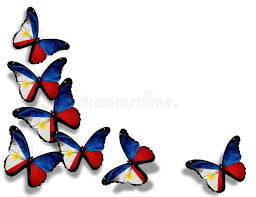 philippine flag butterflies isolated on white stock illustration