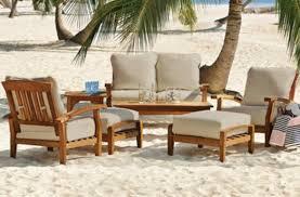 new piece teak wood outdoor patio seating set garden furniture white