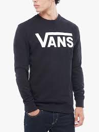 vans sweater vans logo printed crew neck sweater black white vans