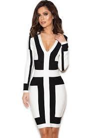 black and white dresses wholesale black and white graphic print bandage dress