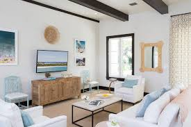 White Wood Ceiling by Living Rooms Blue And White Cottage Living Room