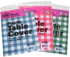 plastic table cover 52x84 12 pc set picnic table