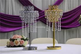 Trumpet Vase Wedding Centerpieces by Ida Luxury Crystal Hanging Beads Centerpieces Gold Trumpet Vases
