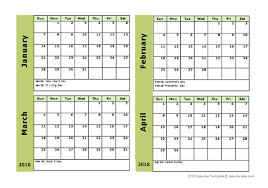 Calendar Template 4 Months Per Page 2018 four month calendar template free printable templates